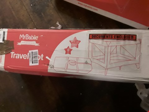 Lot 8471 BOXED MY BABIIE GREY STARS TRAVEL COT