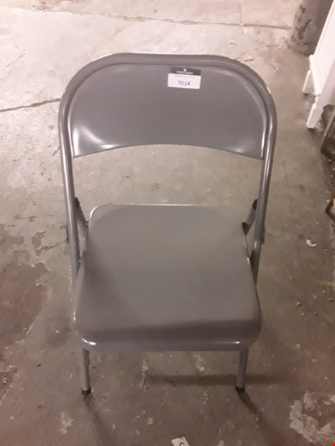 Lot 7014 DESIGNER GREY METAL FOLDING CHAIR