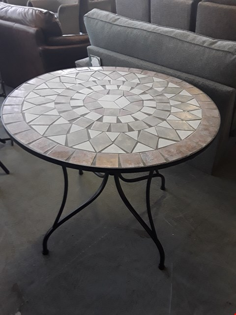 Lot 64 DESIGNER CAST IRON STYLE TILE TOPPED CIRCULAR GARDEN TABLE