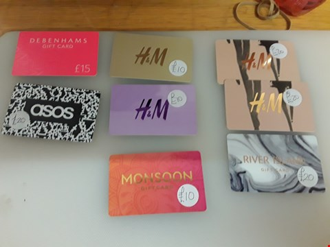 Lot 67 8 ASSORTED GIFT CARDS TO INCLUDE H & M, MONSOON, RIVER ISLAND, ASOS AND DEBENHAMS TOTAL VALUE £125