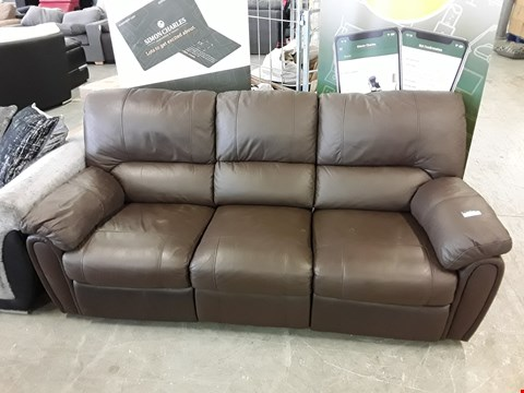 Lot 1 DESIGNER BROWN FAUX LEATHER ELECTRIC RECLINING 3 SEATER SOFA