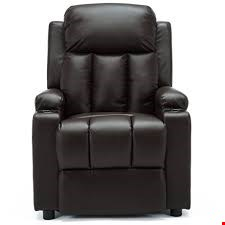 Lot 123 BOXED DESIGNER OSCAR BLACK LEATHER PUSHBACK RECLINING EASY CHAIR  RRP £299.99