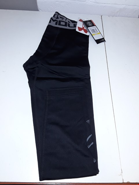 Lot 5095 BAGGED BRAND NEW UNDER ARMOUR BOYS COLDGEAR LEGGINGS - SIZE YMD BLACK