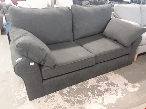Lot 100 QUALITY BRITISH DESIGNER RAMSDEN CHARCOAL FABRIC TWO SEATER SOFA WITH BOLSTER CUSHIONS