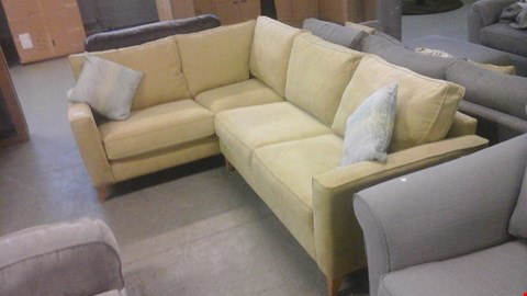 Lot 1256 DESIGNER LIGHT GREEN FABRIC CORNER SOFA