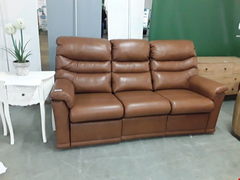 Lot 12501 QUALITY BRITISH MADE, HARDWOOD FRAMED BROWN LEATHER POWER RECLINING 3 SEATER SOFA