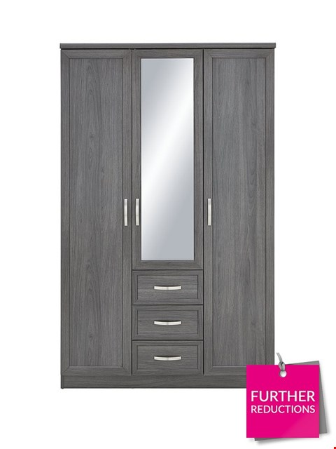 Lot 7087 BOXED GRADE 1 CAMBERLEY 3-DOOR 3-DRAWER MIRRORED WARDROBE - DARK OAK (2 BOXES)