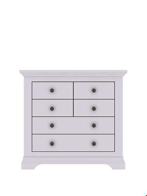 Lot 1025 BRAND NEW BOXED NORMANDY GREY 4 + 2 DRAWER CHEST (1 BOX) RRP £299.00