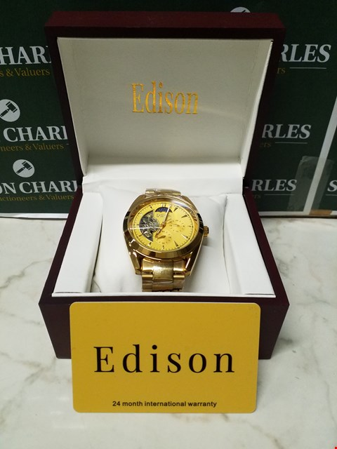 Lot 4549 EDISON GOLD EFFECT METAL BODY AND WRIST STRAP AUTOMATIC CHRONOGRAPH WATCH
