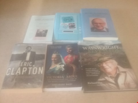 Lot 4030 6 ASSORTED BIOGRAPHICAL BOOKS TO INCLUDE; ERIC CLAPTON, MEL WATMAN, WAINWRIGHT AND GRANVILLE WILKINSON
