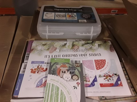 Lot 2696 BOX OF APPROXIMATELY 12 CRAFT ITEMS TO INCLUDE KANBAN IT'S A CUTE CHRISTMAS A6 CARD QUAD SET, MAGNETIC DIE STORAGE CONTAINER AND KANBAN WINTER DECO LADIES COLLECTION