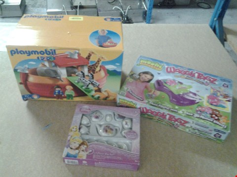 Lot 352 3 ASSORTED PRODUCTS TO INCLUDE; PLAYMOBIL 1 2 3 NOAHS ARK, MOSHI MONSTERS WAGGLE TAGZ AND DISNEY 13 PIECE TEA SET