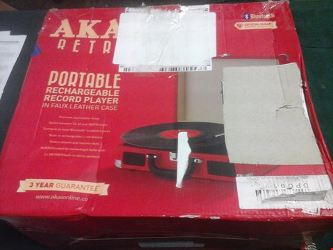 Lot 1026 BOXED AKAI RETRO PORTABLE RECHARGEABLE RECORD PLAYER