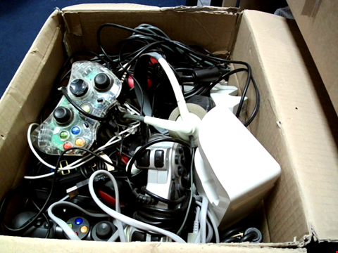 Lot 15653 BOX OF ASSORTED GAMES CONTROLLERS AND CABLES ETC