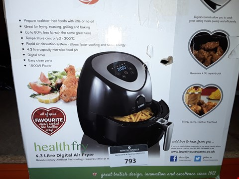 Lot 2508 TOWER T17024 DIGITAL AIR FRYER WITH LCD DISPLAY, 1500 W, 4.3 LITRE, BLACK