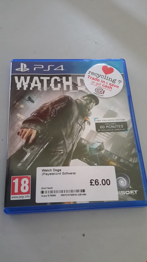 Lot 9059 WATCH DOGS  FOR PLAYSTATION 4