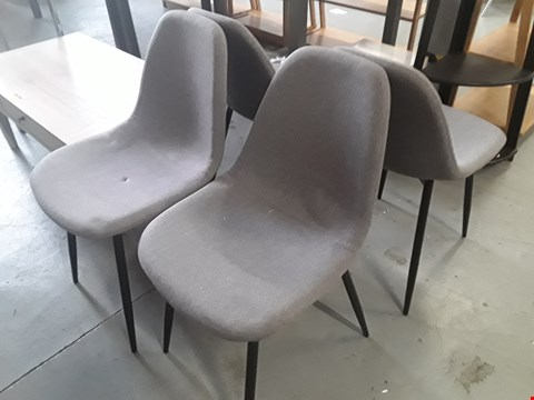 Lot 387 SET OF FOUR METAL FRAMED GREY FABRIC RECEPTION CHAIRS