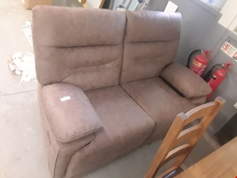 Lot 657 QUALITY MADE TORINO LATTE FABRIC TWO SEATER MANUALLY RECLINING SOFA  RRP £1199.99