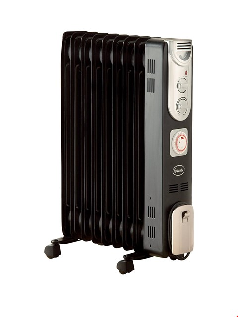 Lot 1407 GRADE 1 SWAN SH1016 2000W OIL-FILLED RADIATOR WITH TIMER RRP £89.99