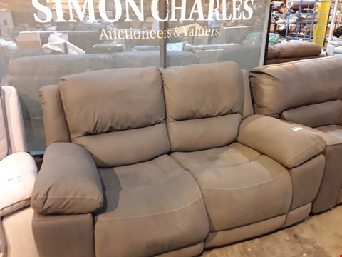 Lot 9038 DESIGNER GREY MACAO FABRIC POWER RECLINING TWO SEATER SOFA WITH FEATURE STITCHING