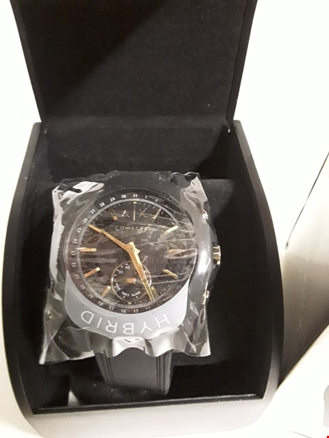 Lot 154 ARMANI EXCHANGE CONNECTED GOLD BLACK SILICONE HYBRID SMARTWATCH RRP £220