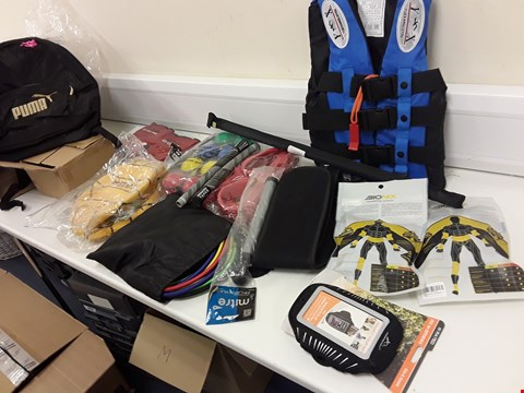 Lot 436 BOX APPROXIMATELY 18 SPORTING ITEMS, INCLUDING, CLIDS LIFEJACKET, BOULES GAME, FOOTBALL, PUMA BACKPAC, SKIPPING ROPES, WEIGHTLIFTER BELTS, CARBON RETRACTABLE FISHING POLE,