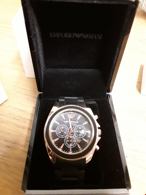 Lot 426 GRADE 1 EMPORIO ARMANI ROSE GOLD STAINLESS STEEL ACRYLIC STRAP WATCH RRP £634