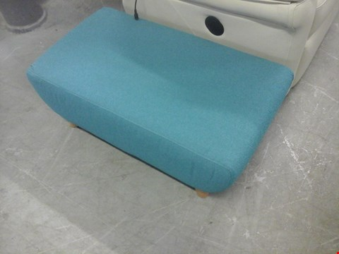 Lot 6 QUALITY BRITISH MADE TEAL FABRIC FOOTSTOOL