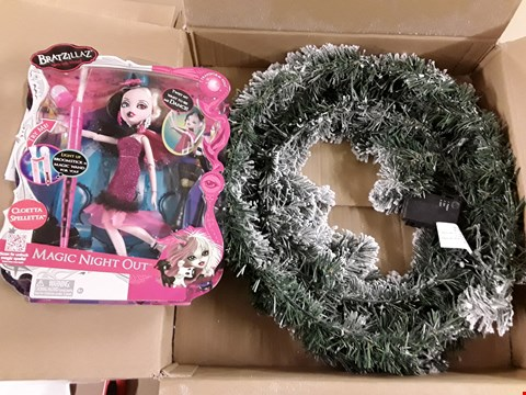 Lot 1395 LOT OF 2 ASSORTED BRAND NEW ITEMS TO INCLUDE PRE-LIT FLOCKED EMPEROR WREATH, BRATZILLAZ MAGIC NIGHT OUT DOLL RRP £65