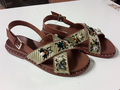 Lot 12 PAIR OF ASH MAYA CRYSTAL BUG SANDALS IN TAN - SIZE UK 7