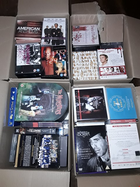 Lot 4373 4 BOXES OF ASSORTED MEDIA ITEMS TO INCLUDE MODERN FAMILY,CSI AND THE SIMPSONS
