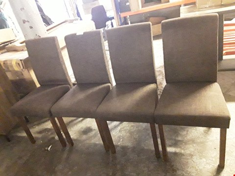 Lot 3163 SET OF FOUR DESIGNER BROWN FABRIC DINING CHAIRS