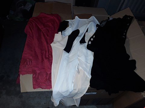 Lot 330 BOX OF APPROXIMATELY 49 ASSORTED CLOTHING ITEMS TO INCLUDE BLACK LATTICE STRAP VEST, MULTICOLOURED BLOCK BLOUSE AND HOT PINK LACE TRIM VEST TOP
