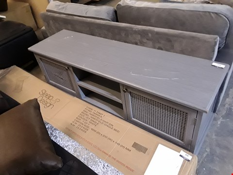 Lot 359 DESIGNER GREY FINISH MEDIA UNIT WITH SPLIT CANE DETAIL
