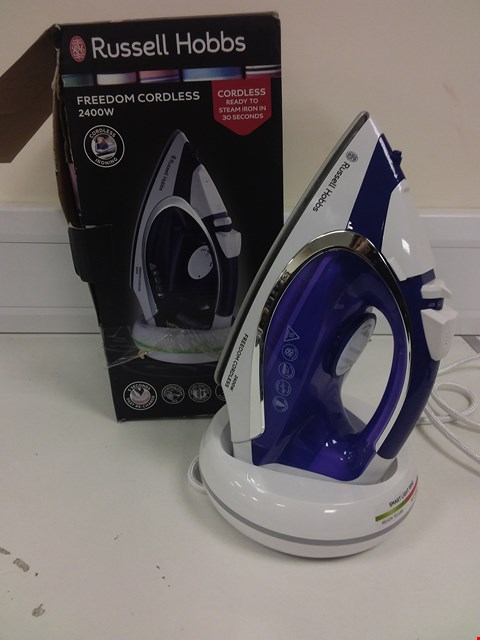 Lot 7770 BOXED RUSSELL HOBBS FREEDOM CORDLESS 2400W STEAM IRON IN WHITE/BLUE