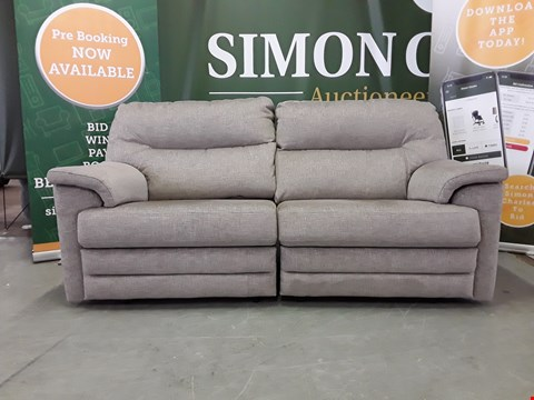 Lot 8012 QUALITY DESIGNER BRITISH MADE WOODEN FRAME GREY FABRIC ELECTRIC RECLINING 2 SEATER SOFA