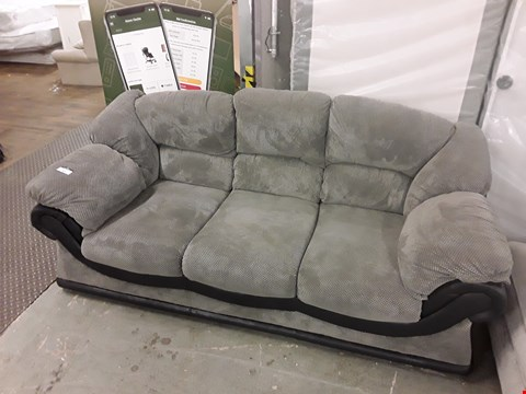 Lot 47 DESIGNER GREY FABRIC AND BLACK FAUX LEATHER 3 SEATER SOFA