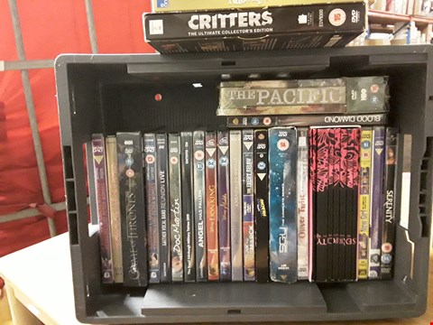 Lot 14845 BOX OF APPROXIMATELY 24 ASSORTED DVD'S TO INCLUDE THE PACIFIC, SERENITY, ALADDIN ETC