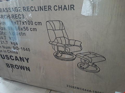 Lot 54 BOXED DESIGNER TUSCANY BROWN MASSAGE RECLINER CHAIR WITH FOOTSTOOL RRP £269.99