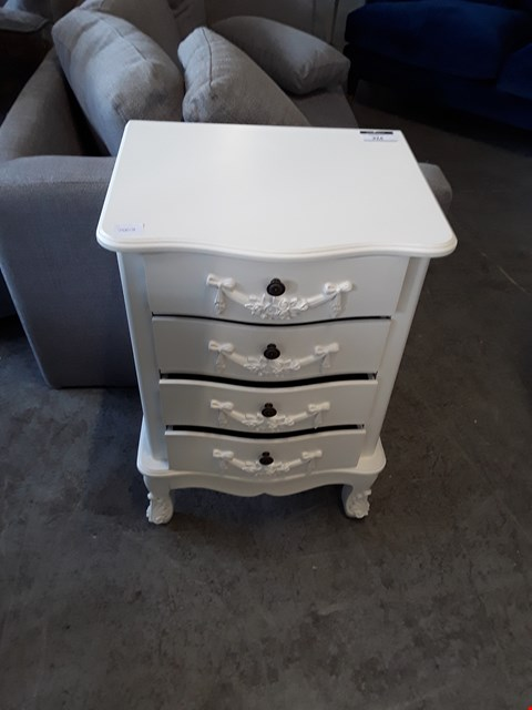 Lot 324 DESIGNER WHITE FINISH 3 DRAWER BEDSIDE CABINET