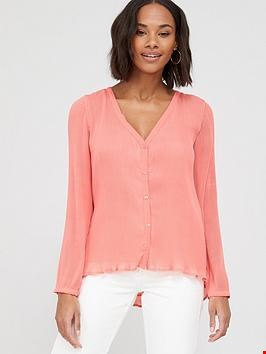 Lot 7336 BRAND NEW V BY VERY PINK PLEATED BUTTON THROUGH BLOUSE  - SIZE 8 UK