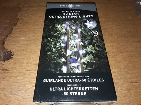 Lot 9385 BOXED SUPER BRIGHT SOLAR POWERED 50 STAR ULTRA STRING LIGHTS  RRP £49.99