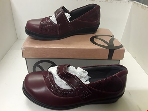 Lot 4048 PAIR OF DESIGNER BURGUNDY LEATHER FLAT SHOES IN THE STYLE OF SANPIPER SIZE UK 5