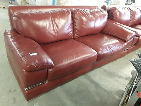 Lot 127 DESIGNER RED GLOSS LEATHER TWO SEATER WITH CHROME DETAIL