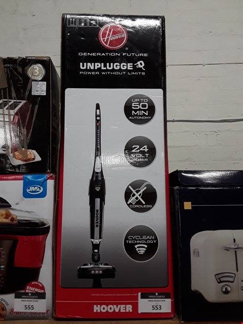 Lot 553 HOOVER UNPLUGGED 24V CORDLESS VACUUM