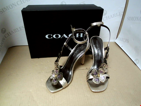 Lot 7051 COACH BIANCA EMBELLISHED BRONZE LEATHER SANDALS - SIZE 7.5