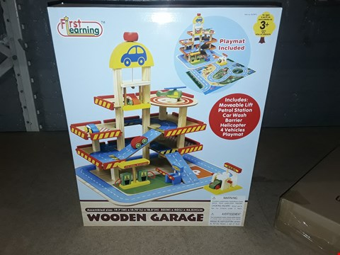 Lot 8447 BOXED FIRST LEARNING WOODEN GARAGE