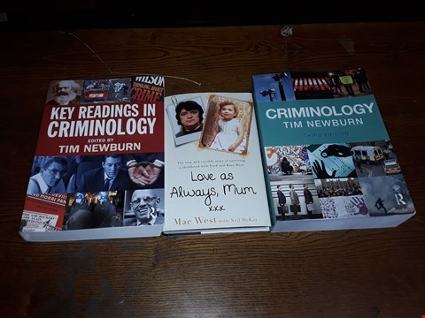 Lot 154 LOT OF APPROXIMATELY 3 BOOKS TO INCLUDE KEY READING IN CRIMINOLOGY TIM NEWBURN, CRIMINOLOGY TIM NEWBURN THIRD EDDITION AND LOVE AS ALWAYS, MUM MAE WEST WITH NIEL MCKAY