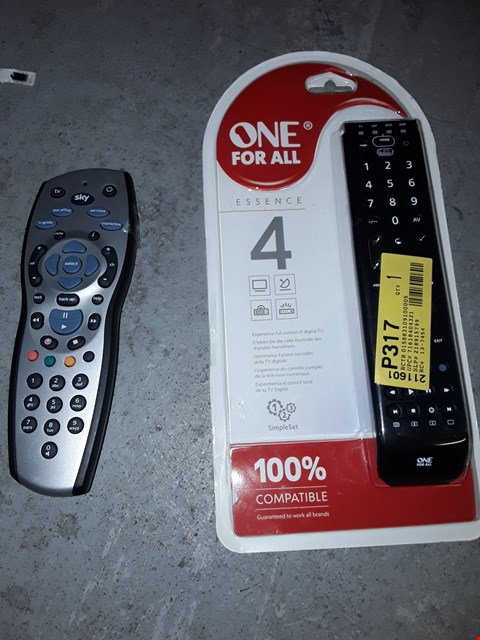 Lot 1479 BOX OF APPROXIMATELY 10 TV REMOTES TO INCLUDE ONE FOR ALL ESSENCE 4 REMOTE AND SKY REMOTE ( BOX NOT INCLUDED)
