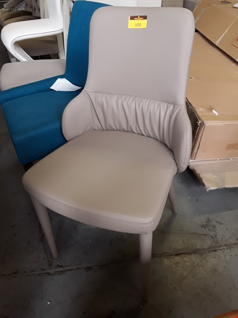 Lot 100 DESIGNER GREY FAUX LEATHER DINING CHAIR